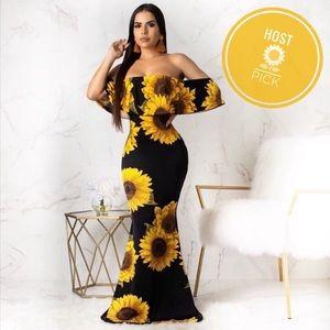 Sunflower Stretch Floral Maxi Bodycon Summer Dress